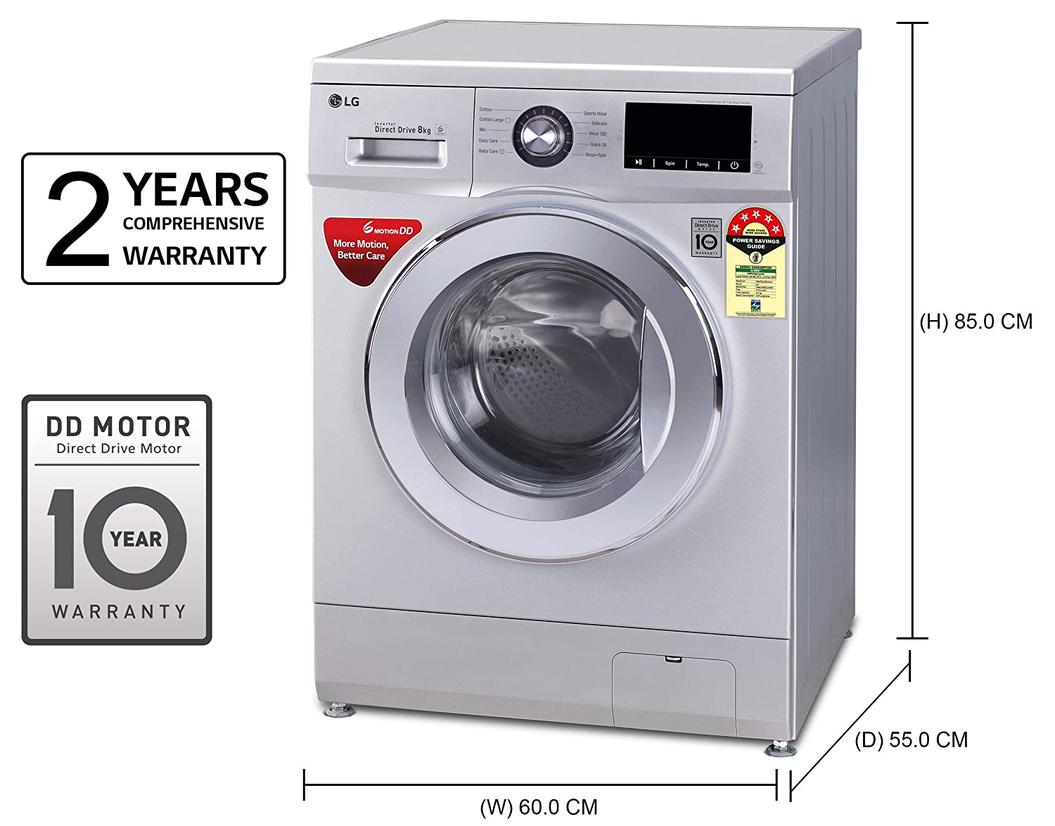 Best LG Front Load Washing Machine 8.0 Kg 5 Star Inverter Fully-Automatic